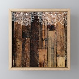 rustic country farmhouse chic vintage lace barnwood Framed Mini Art Print