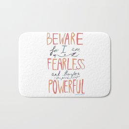 BEWARE, FEARLESS, POWERFUL: FRANKENSTEIN by MARY SHELLEY Bath Mat