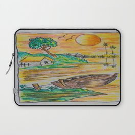 Boat on a Pond at Sunset Laptop Sleeve