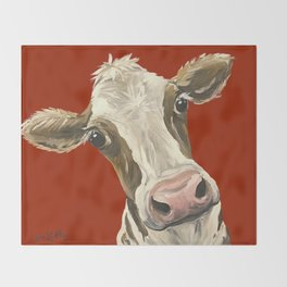 Cute Cow Painting, Red Cow Painting Throw Blanket