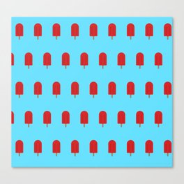 Red Popsicles - Blue Background Canvas Print