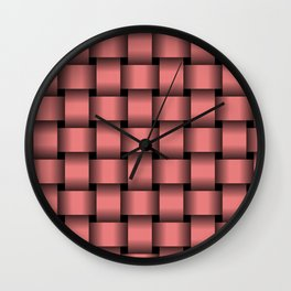 Large Pastel Red Weave Wall Clock