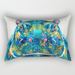 Hippopotamus Art - Happy Hippo - By Sharon Cummings Rectangular Pillow