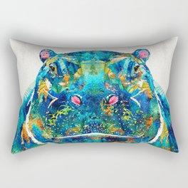 Hippopotamus Art - Happy Hippo - By Sharon Cummings Rectangular Pillow