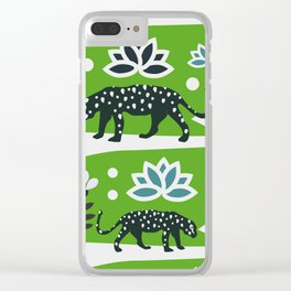 Wild felines and flowers Clear iPhone Case