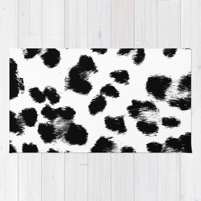 Black White Leopard Print Rug
