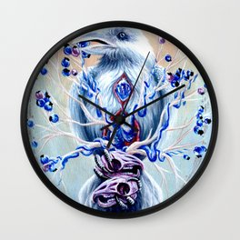 White Raven Bird with Mouse Skulls and Fruit Wall Clock