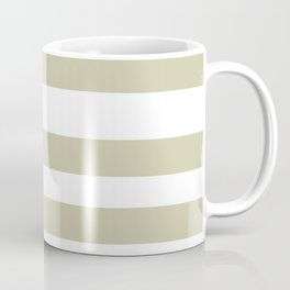 Natural Olive Green - Martinique Dawn - Asian Silk Hand Drawn Fat Horizontal Lines on White Coffee Mug