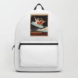 vintage travel poster Viareggio Carnevale Retro Backpack