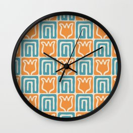 Mid Century Flower Garden Pattern 381 Turquoise and Orange Wall Clock