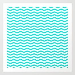 Bright Turquoise and White Chevron Wave Art Print