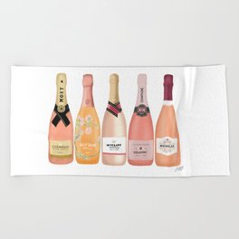 Rose Champagne Bottles Beach Towel