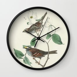 White throated Sparrow from Birds of America (1827) by John James Audubon etched by William Home Liz Wall Clock