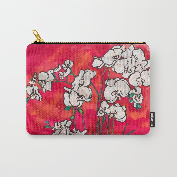 Orchid in Chinoiserie Bird Pot on Pink, Coral and Red Background Floral Still Life Painting Matisse Carry-All Pouch