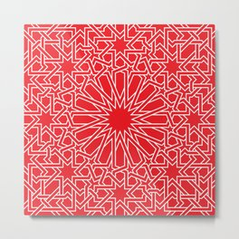 Moroccan Pattern 4 Outline Red Metal Print