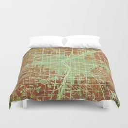 Denver Colorado map, year 1958, orange and green artwork Duvet Cover