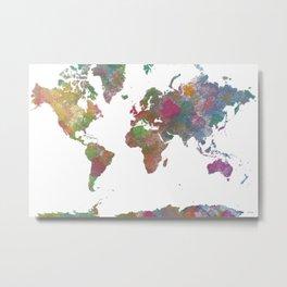 World Map - Watercolor 4 Metal Print