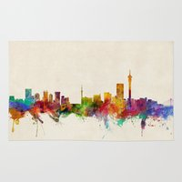 south africa Area & Throw Rugs featuring Johannesburg South Africa Skyline by artPause