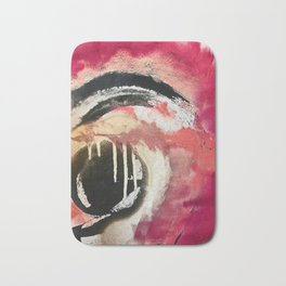 Between Heartbeats [2]: a vibrant abstract piece in pink gold black and white by Alyssa Hamilton Art Bath Mat