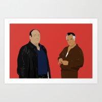 sopranos Art Prints featuring Sopranos - Tony Soprano - Paulie Gualtieri by Lucho Margolin
