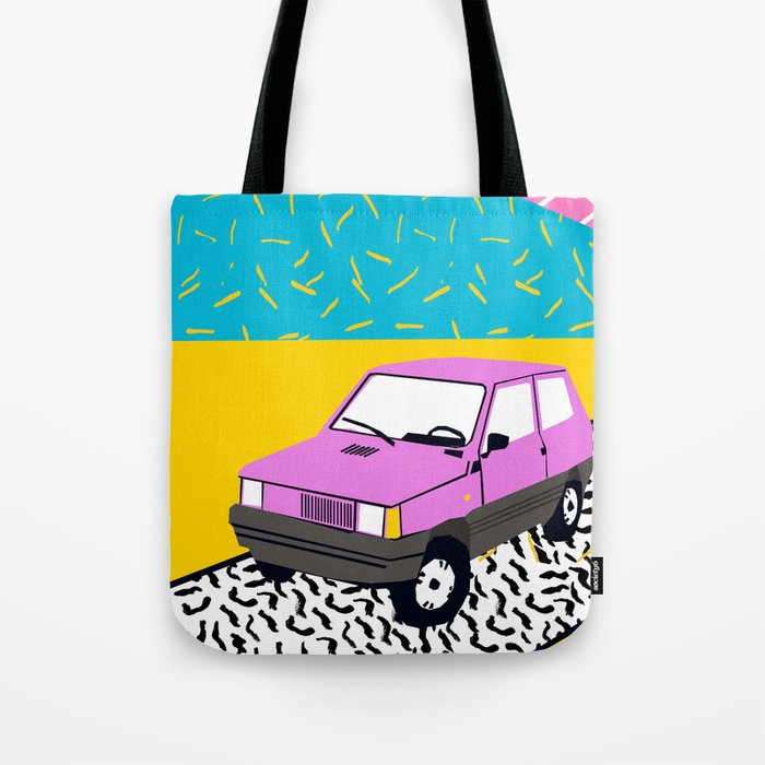 Amped - throwback 80s memphis vintage cars sunset socal california beach life Tote Bag