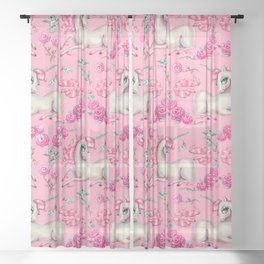 Unicorns and Roses on Pink Sheer Curtain
