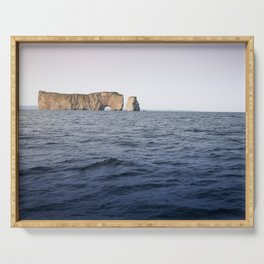 Beautiful Rocher Percé, in the middle of the sea, Gaspésie Serving Tray