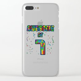 7th Birthday Gift Awesome At 7 Years Blocks Brick  Clear iPhone Case