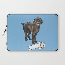 Milo the Poodle with his Monkey Laptop Sleeve