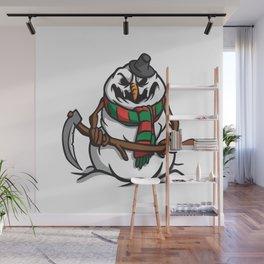 Creepy Comic Snowman Wall Mural