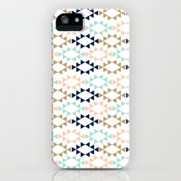Aztec - Geometric tribal pattern in navy, gold glitter, pink, and blush iPhone Case