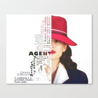 peggy carter Canvas Prints featuring Agent Peggy Carter by Sindhu Tngm