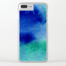 Bright Blue Green Watercolor Painting Wash Hippy Haze Clear iPhone Case