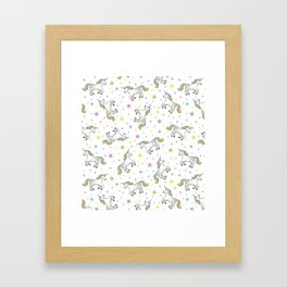 Unicorns and Stars - White and Rainbow scatter pattern Framed Art Print
