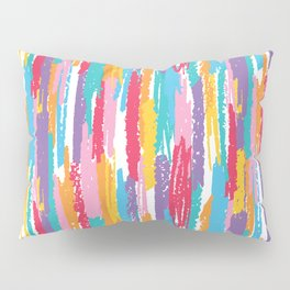 Colorful crayons brushstrokes pattern Pillow Sham