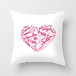 """Great Baking Design For Bakers T-shirt Design """"Chef"""" Fork Knife Cherry Icing Cake Dessert Buttons Throw Pillow"""