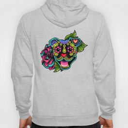 Smiling Pit Bull in Black - Day of the Dead Pitbull Sugar Skull Hoody