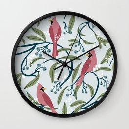 Winter Cardinals Wall Clock