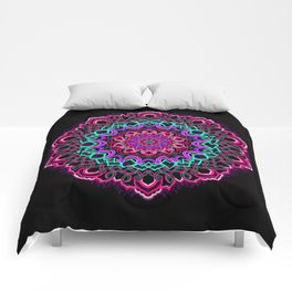 Project 208 | Colorful Mandala on Black Comforters
