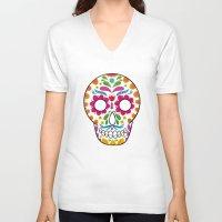 dia de los muertos V-neck T-shirts featuring Dia de los muertos by Studio Armad'illo