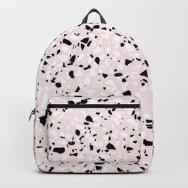 'Speckle Party' Blush Pink Black White Dots Speckle Terrazzo Pattern Backpack