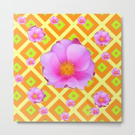 Yellow Pattern Lime on Pink Rose Abstract Metal Print