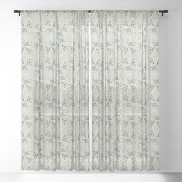 Cosmic Tulips on Lunar Gray Sheer Curtain
