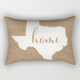 Texas is Home - White on Burlap Rectangular Pillow