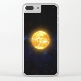 Two planets and space debris orbiting nearby star. Outer Space, Cosmic Art and Science Fiction Conce Clear iPhone Case