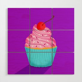 Pink Cupcake Wood Wall Art