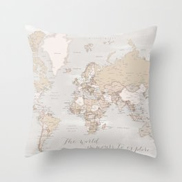 """The world is yours to explore, rustic world map with cities, """"Lucille"""" Throw Pillow"""