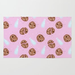 Milk and chocolate chips cookies pink Rug