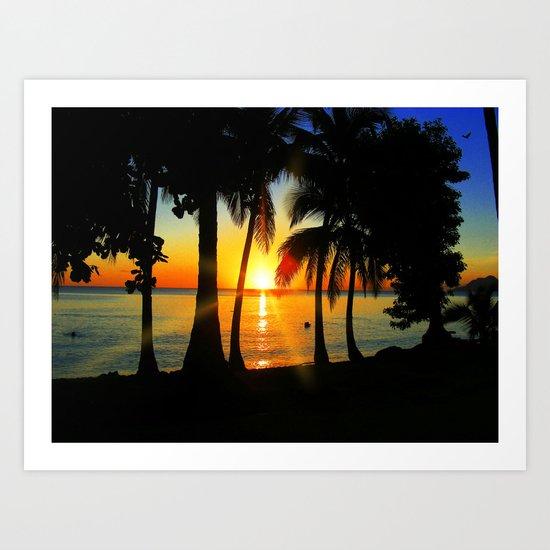 Sunset on Exotic Beach Art Print