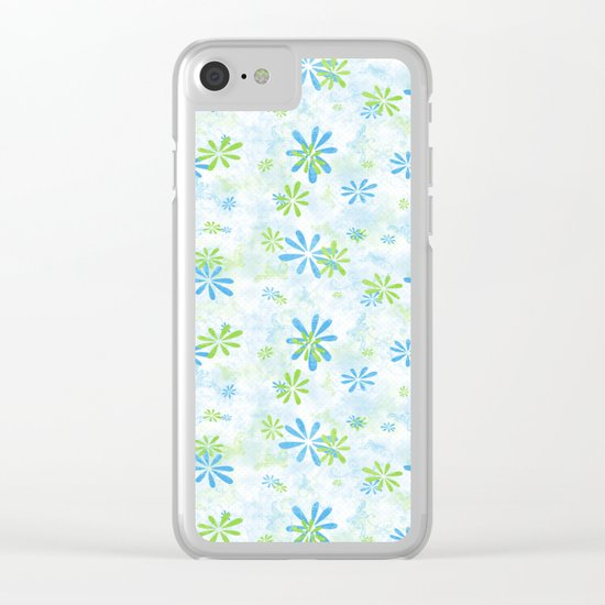 Blue and Green Floral Pattern Clear iPhone Case
